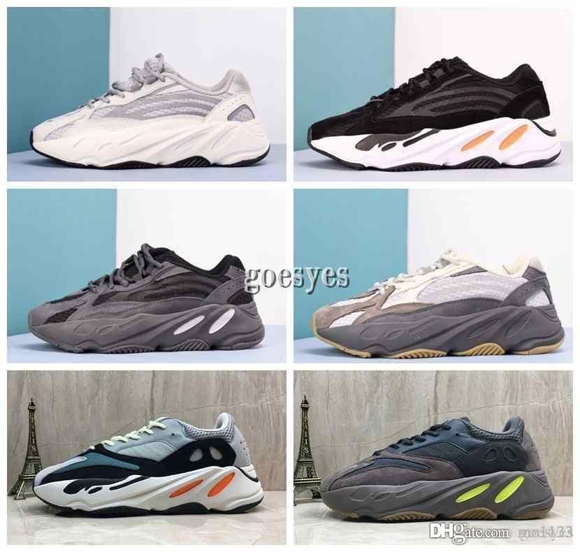 2019 Kanye West 700 Wave Runner Laufschuhe für Herren Damen 700s V2 statische Sport Turnschuhe lila solide grau Luxus Designer Schuhe