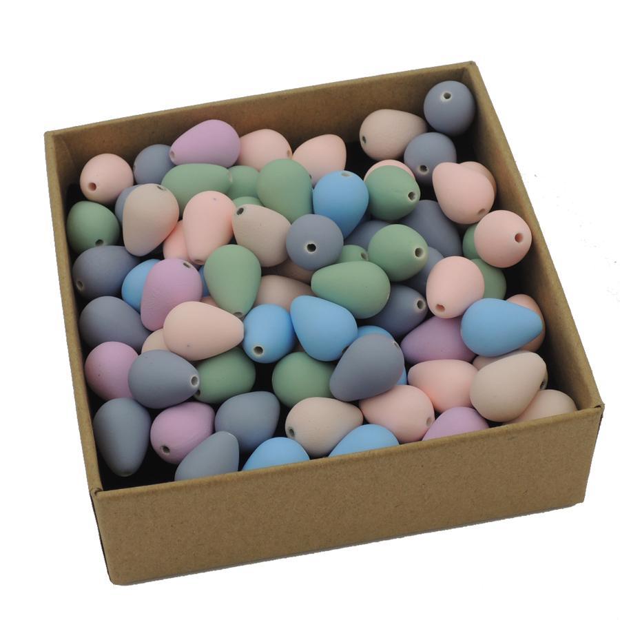 30pcs 물방울 구슬 16x12mm 창백한 색상 부드러운 청록색 사랑 쥬얼리 액세서리 빗방울 만들기 믹스 빅 홀 수지 모듬 EA419-1