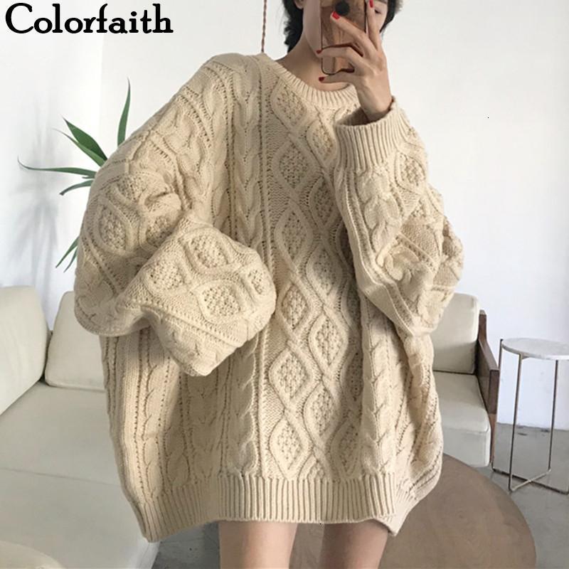 ColorFaith Neue 2019 Herbst Winter Frauen Pullover Pullover Übergröße Stricken Lose Elegante Lässige Feste Minimalistische Tops SW7418MX190926