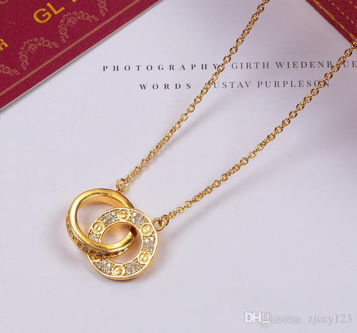 bb Fashion New Femme AMOUR double cercle collier pendentif en argent en or rose pour les femmes Vintage collier bijoux fantaisie avec coffret d'origine