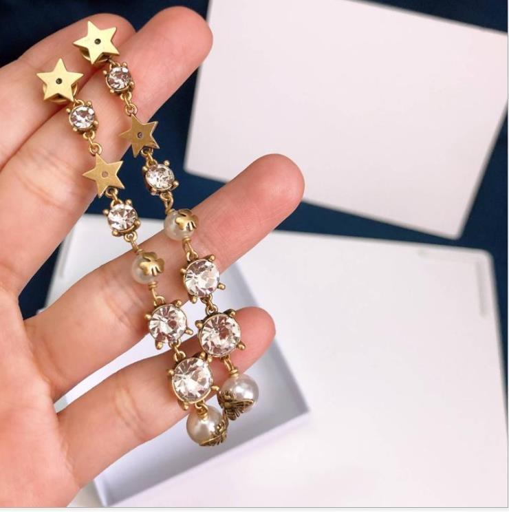 Nueva Pentagram pendientes de perlas largo retro pendientes borla de la estrella del Rhinestone