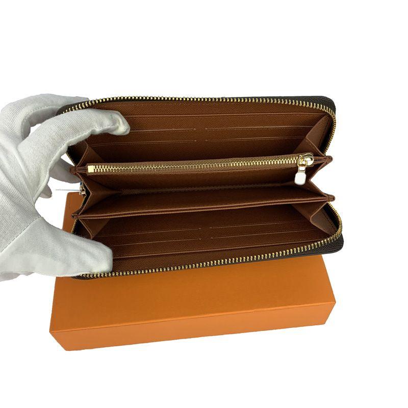 الجملة ذات جودة عالية أزياء الرجال محفظة مصمم سحاب واحد جلد النساء محافظ السيدات سيدة طويلة محفظة مع بطاقة المربع البرتقالي 60017