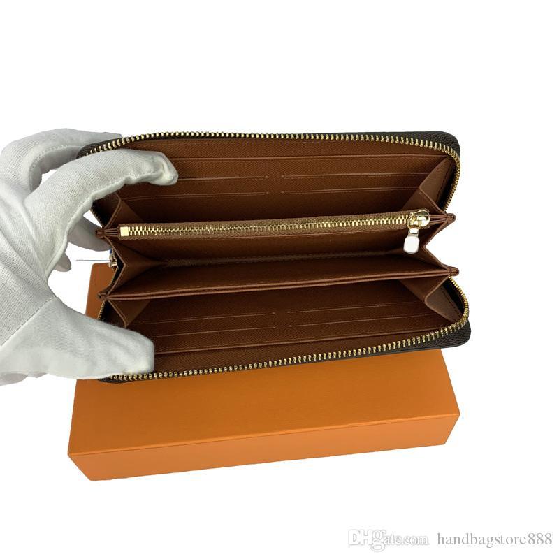 Оптовые высококачественные модные кошельки одиночные молния дизайнер мужчин женщины кожаные кошельки леди дама длинный кошелек с оранжевой коробкой карточек 60017