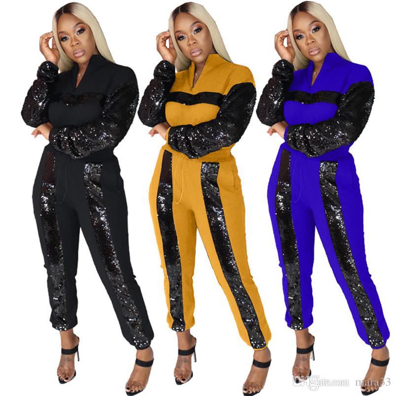 Lentejuelas mujeres de 2 piezas ropa de invierno caída marcha establecida sudadera pullover pantalones ropa deportiva con capucha polainas equipar a los monos de vestir exteriores 2359