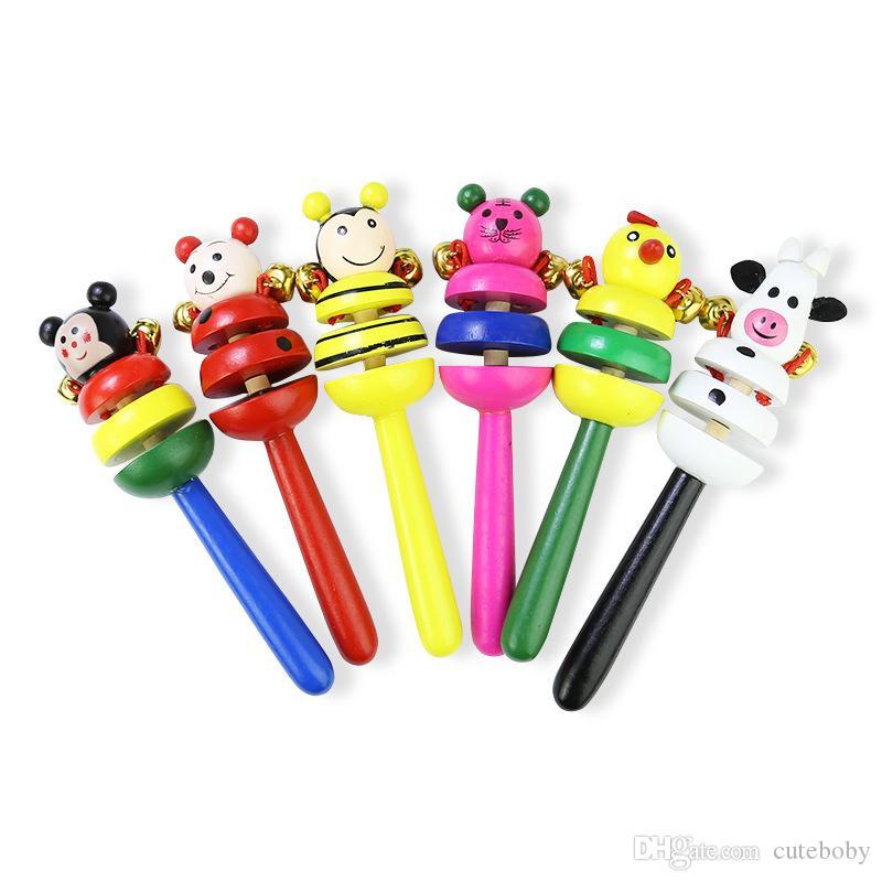 아기 장난감 딸랑이 나무 활동 신생아 어린이 핸드폰 딸랑이 아기 장난감에 대한 아이 선물을위한 벨 스틱 셰이커 아기 장난감 DHL
