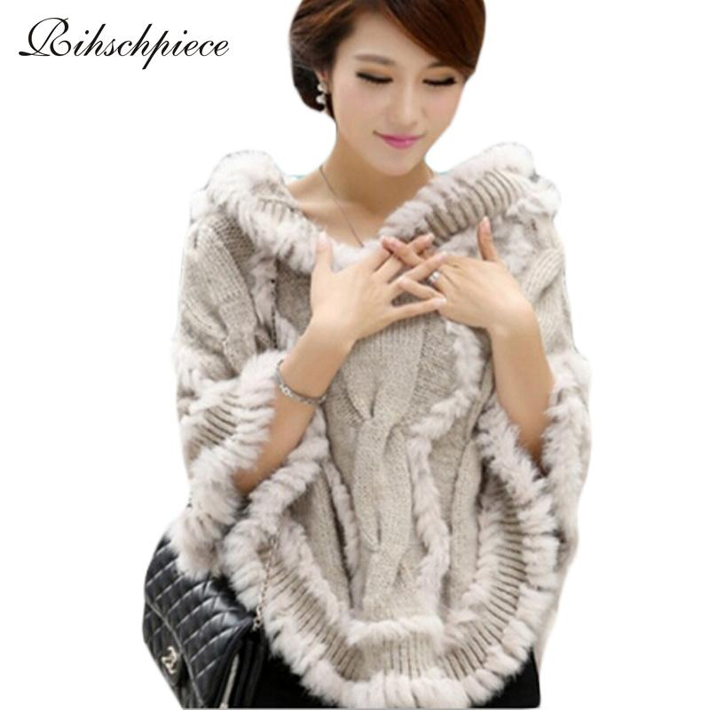 Rihschpiece 2018 Winter Faux Fur Poncho Sweater Pullover Hoodies Collar Knitted Cape Batwing Sleeve Jacket RZF1293