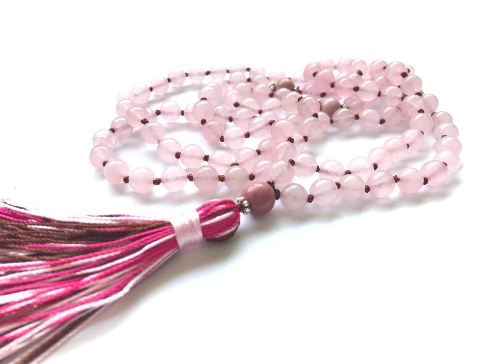 108 Rosequartz Mala Beads Necklace Prayer Necklaces Yoga Jewelry For Love & Health Buddhist Rosary Tassel Knotted Necklace J190711
