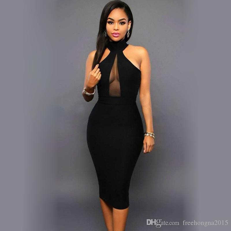 Sleeveless Midi Bodycon Dress Backless Sexy Women Dress Club Wear Elegant Mesh Party Dresses Black S-XL
