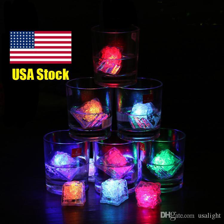 2.7cm Plastic LED Ice Cubes Party Decoration Water Sensor Sparkling Luminous Glowing Light Wedding Bar Flash Wine Glass Cup