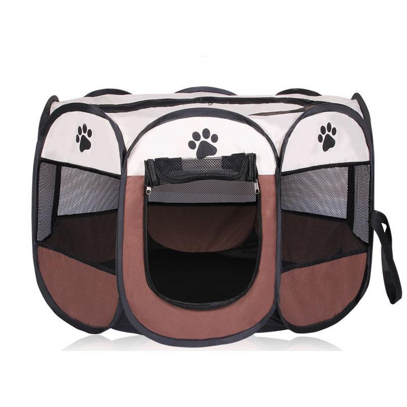 HOT Portable Folding Pet tent Dog House Cage Dog Cat Tent Playpen Puppy Kennel Easy Operation Octagonal Fence outdoor supplies Y200330