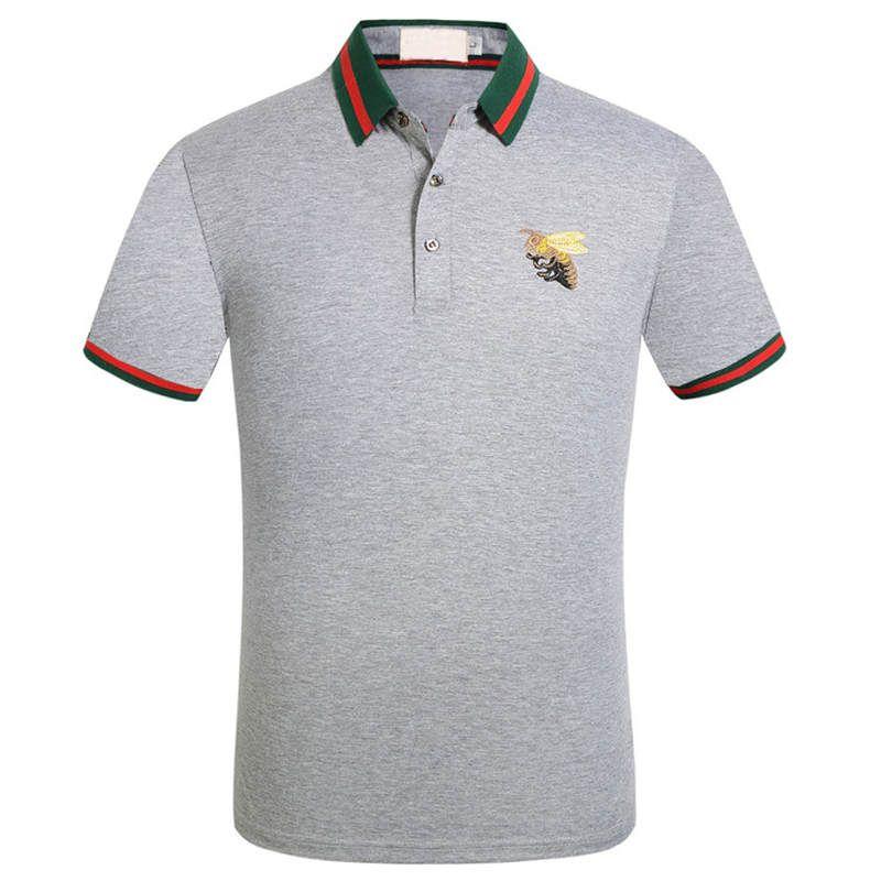 Дизайнерские мужские поло рубашки летние роскошные поло для мужчин мягкие футболки с пчелами вышивка бренд повседневная мужская твердая одежда M-3XL 5 цветов