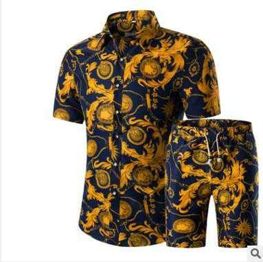 Homens Camisas + Shorts Set New Verão Impresso Ocasional Camisa Havaiana Homme Curto Masculino Impressão Vestido Terno Conjuntos Plus Size