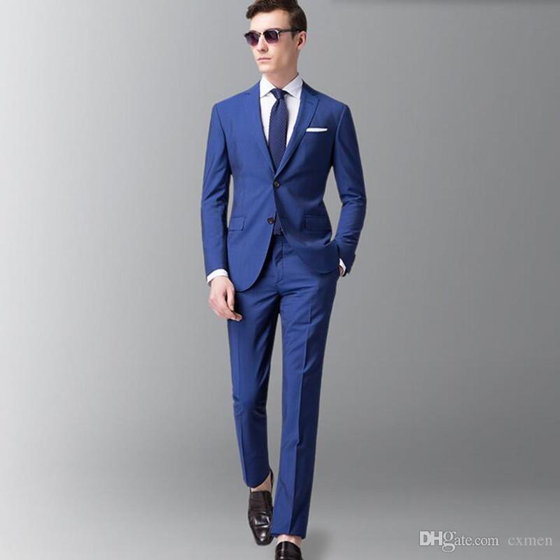 На заказ синие мужские костюмы свадебные 3 шт. Свободного покроя жених смокинги летний пляж лучших мужчин жениха пиджак + брюки + жилет костюм Homme