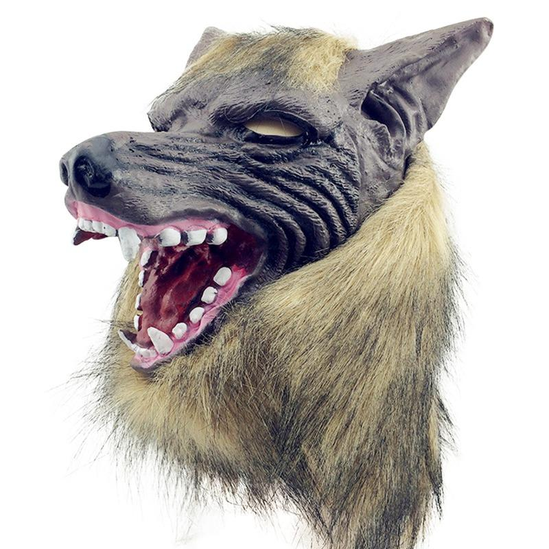 Halloween Cosplay Horror White Wolf Head Mask Latex Animal Mask Theater Prop