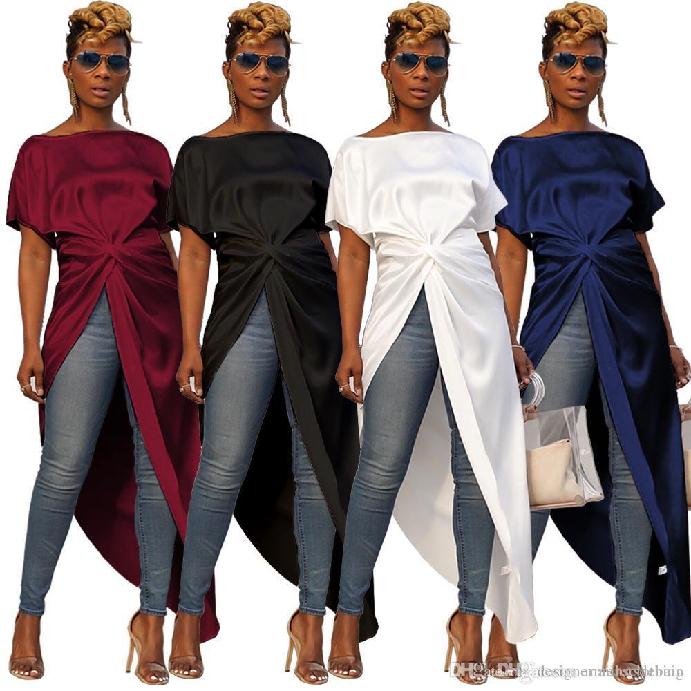 여성 섹시한 분할 롱 티셔츠 솔리드 짧은 전면 긴 돌아 가기 패션 블라우스 짧은 소매 불규칙한 탑