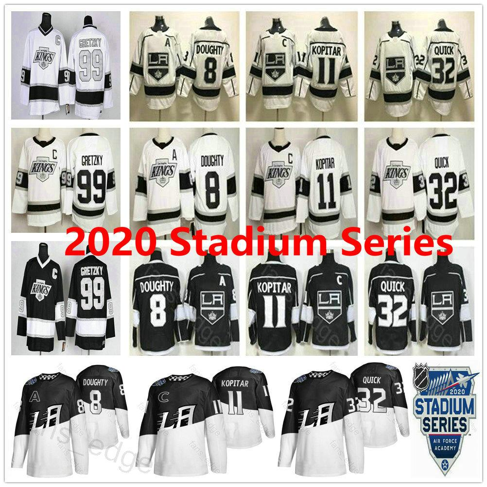 2020 Stadio Serie Los Angeles Kings 8 Drew Doughty 11 Anze Kopitar 32 Jonathan Quick 99 Wayne Gretzky della donna degli uomini Bambini Hockey su ghiaccio Maglie