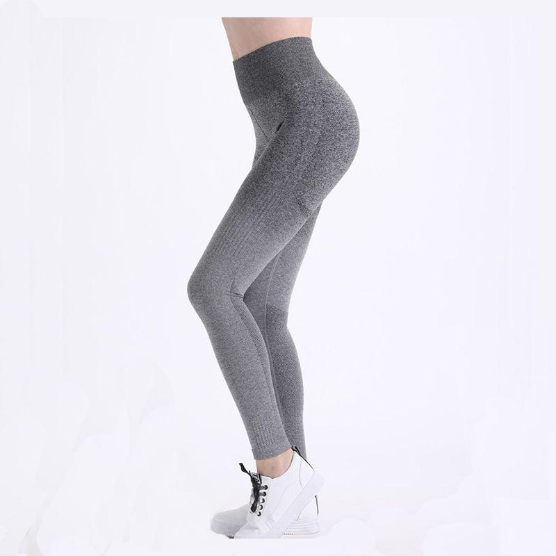 Leggings de gimnasia de cintura alta Pantalones de yoga de punto Ropa de gimnasia elástica Vital sin costuras Push Up Gym Medias Running Sportwear
