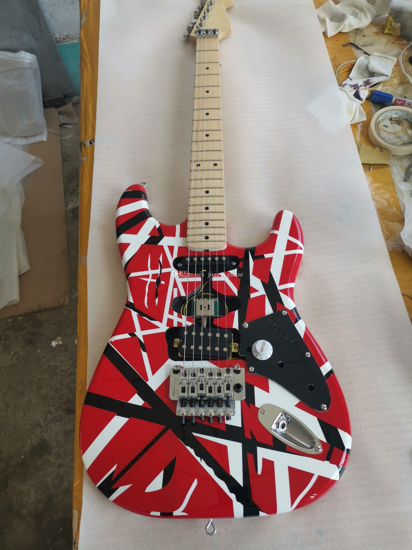 Kramer 5150 Edward Eddie Van Halen Франкенштейн Черно-белая полоса Красная электрогитара ST-образный кленовый вырез, фиксирующая гайка Floyd Rose Tremolo