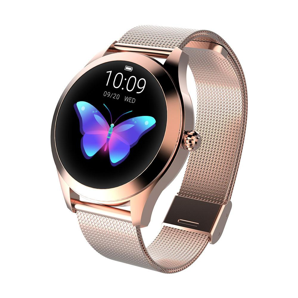 femenina impermeable inteligente mujeres del reloj de pulsera inteligente de la aptitud del monitor del perseguidor del sueño Monitoreo banda SmartWatch Conectar IOS Android KW10