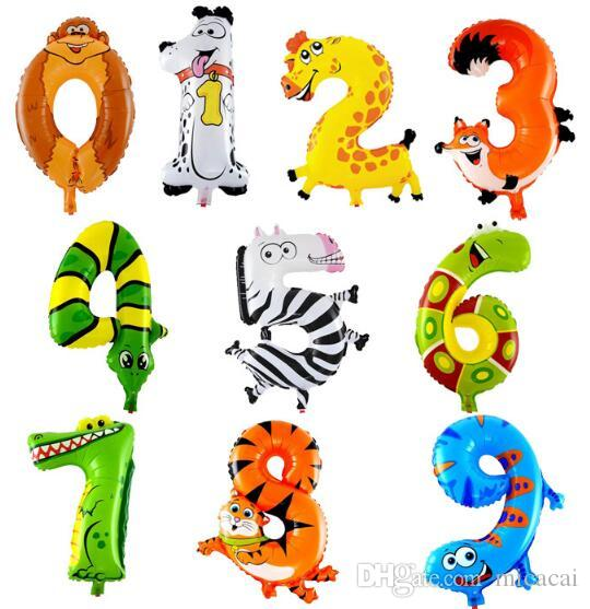 16 inch Animal Foil Number Balloons Birthday Party Wedding Decoration Digit Inflatable Air Balloons Event Party Supplies