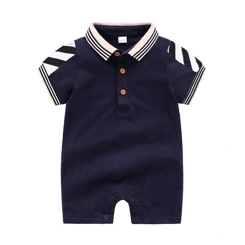 Monos niño 2020 Nueva tela escocesa Turn-down Collar mamelucos del verano de los muchachos ropa unisex bebé moda mameluco mamelucos para niños