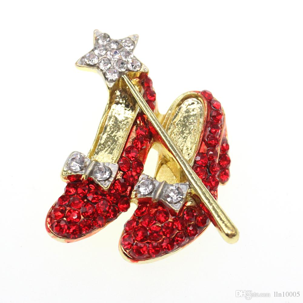 10pcs/lot Golden and Silver Red Crystal High Heel Shoes Star Wand Bow Lapel Pin Dorothy Wizard of Oz Style Shoes Brooch