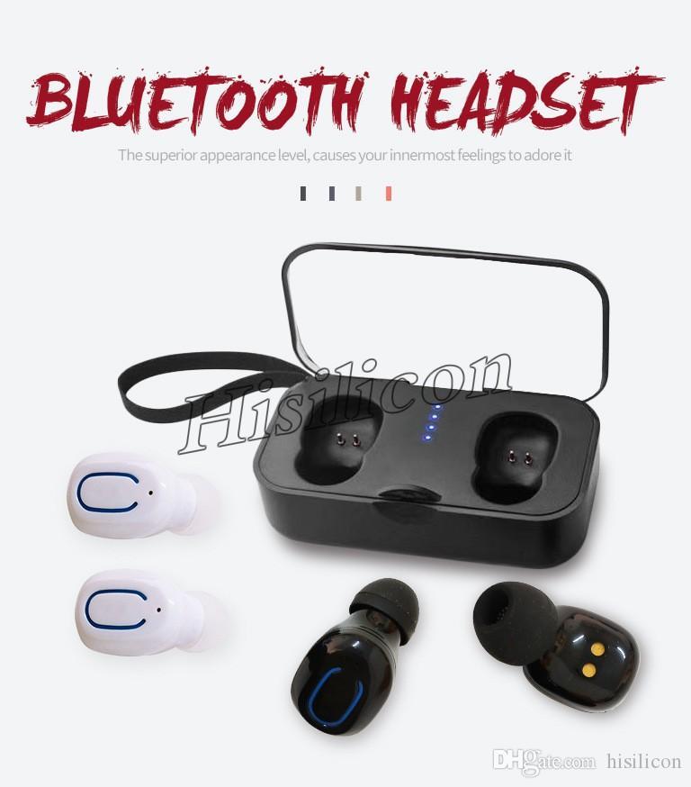 30шт NewTi8S TWS беспроводных наушники Bluetooth V5.0 с зарядным футляром Mic-вкладышами стерео сенсорного управления гарнитурой для смартфонов