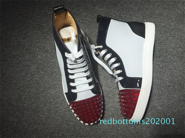 Rouge Fond Sneakers Orlato Collection Pointes Orlato De Luxe Designer En Cuir Verni High Cut Spikes Sneakers Coloré Pointes Hommes Femmes R01