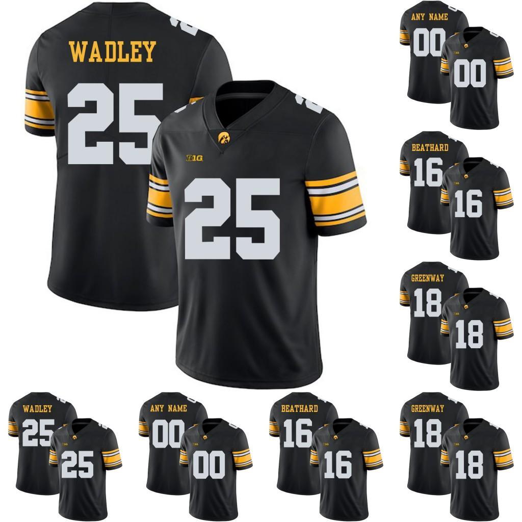 아이오와 Hawkeyes # Akrum Wadley C.j ithard Chad Greenway Marshall Koehn Noah Fort College Football Stitched Jerseys Black