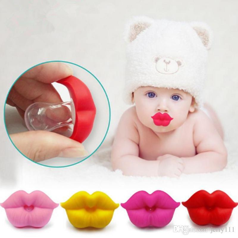Bebek Emzik Kırmızı Öpücük Dudaklar Kukla Emzikler Komik Silikon Bebek Nipeller Diş Kaşıyıcı Emzikler Emzik Bebek Diş Bakımı LE360