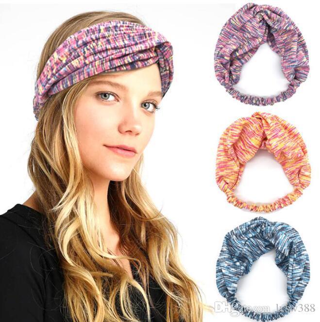 40pcs/lot DIY Simple Multi Fabrics Cross Sports Hair Bands Stretch Cotton Yoga HeadBands Hair Styling Tools Accessory HA1289
