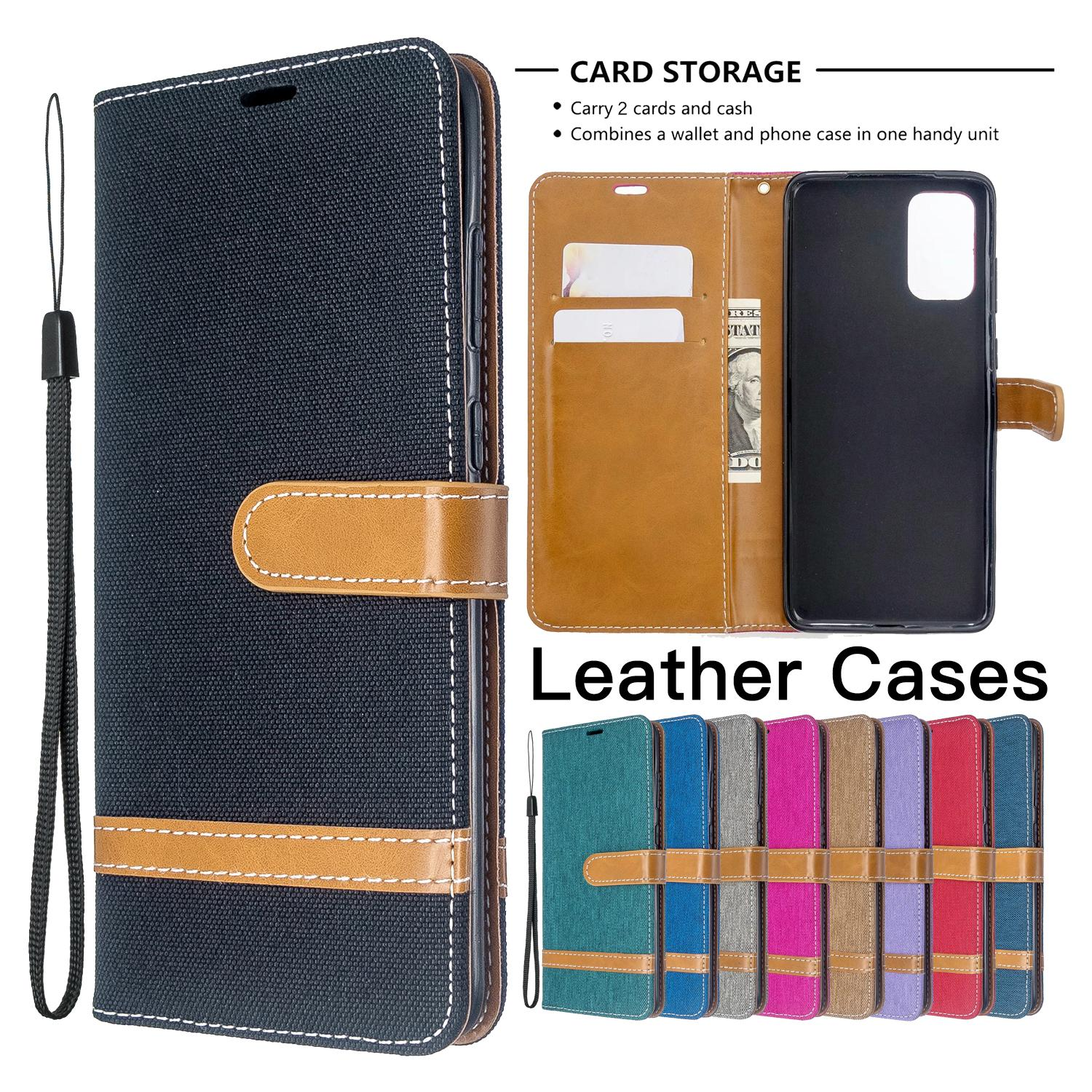 TPU PU Leather Wallet Phone Case for Samsung Galaxy S20 Ultra S10 S9 Plus Note 10 iPhone 11 Pro Max Denim Cloth Flip Stand Cover Case