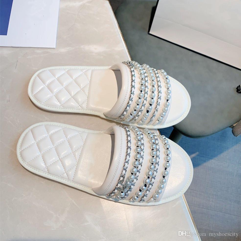 adorables elegantes diapositivas de cuentas de la cadena de la perla blanca de cuero reales del cowskin sandalias de diseño zapatos de la playa mujeres de lujo de tamaño de los zapatos del diseñador de 35 a 40