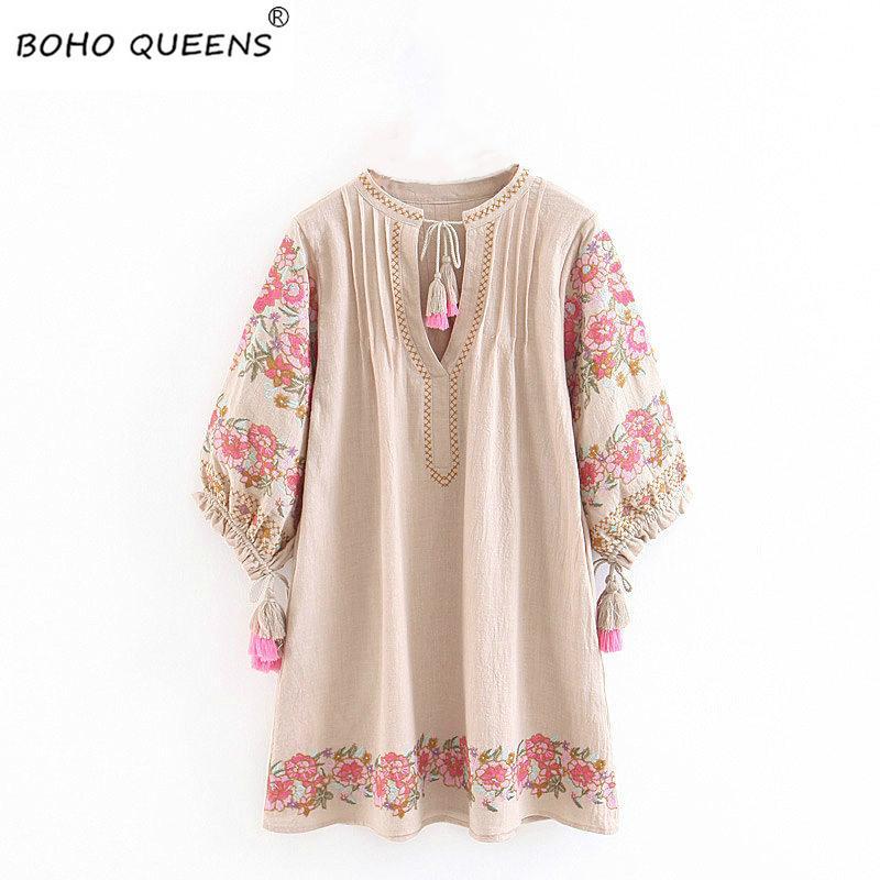 Boho donne chic manica spiaggia floreale mezzo stampa happie Bohemian Moda mini abito di lino scollo a V abito di cotone nappa
