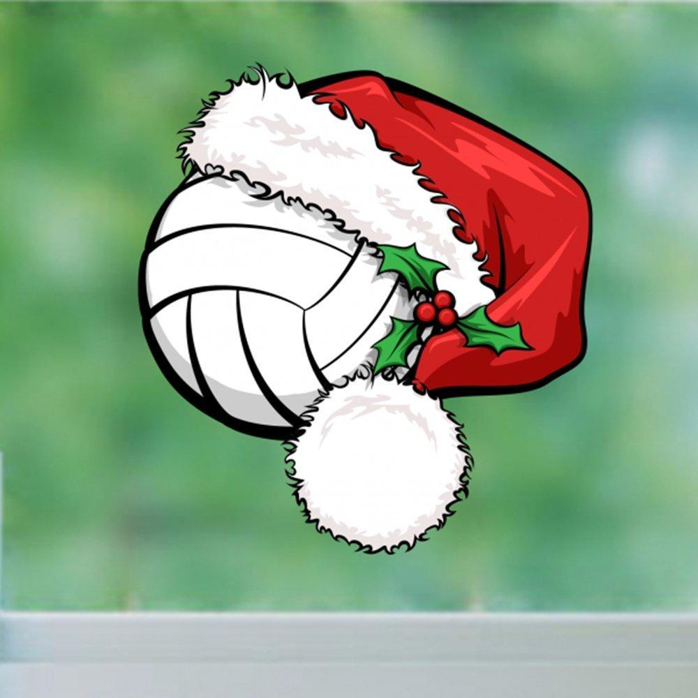 Weihnachtsschmuck mit Creative Volleyball Weihnachtsmütze Frohe Weihnachten Aufkleber Vinyl Wasserdichte Wand PVC Aufkleber Abnehmbare