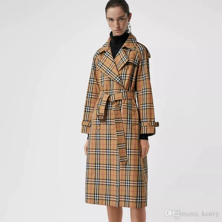 luxo high-end da marca de moda feminina Aberdeen estendida xadrez blusão britânica Trench Coat trespassado