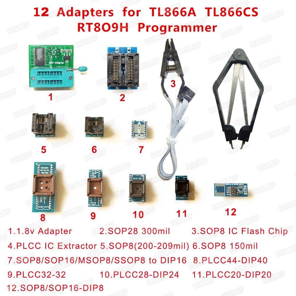 Freeshipping 1.8 V SOP28 SOP8 PLCC44 32 28 20 IC Extractor 12 Programcı Adaptörleri TL866CS TL866A EZP2010 RT809F RT809H Programcı için Soketler