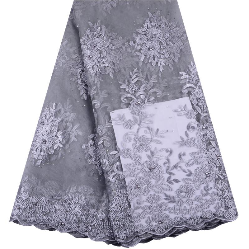 Fashion African Lace Fabric 2019 High Quality Lace French Mesh Fabric Beaded Beads Nigerian Swiss Lace Fabrics For Dress A1489