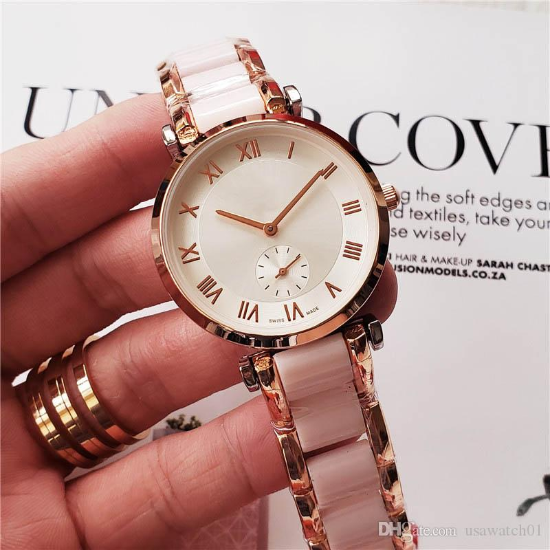 diseñador de las mujeres de lujo relojes de acero inoxidable del deporte número romano de línea de 36 mm Pequeño reloj de pulsera exquisito Todo el trabajo subdial novia de regalo Reloj