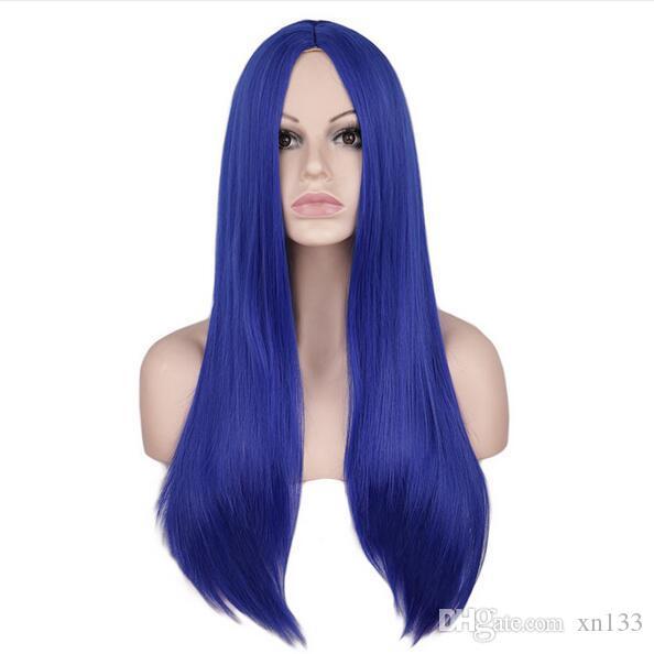Frauen 70 cm lange gerade Cosplay Perücke Party rot blau blond 100% Hochtemperaturfaser Kunsthaar Perücken