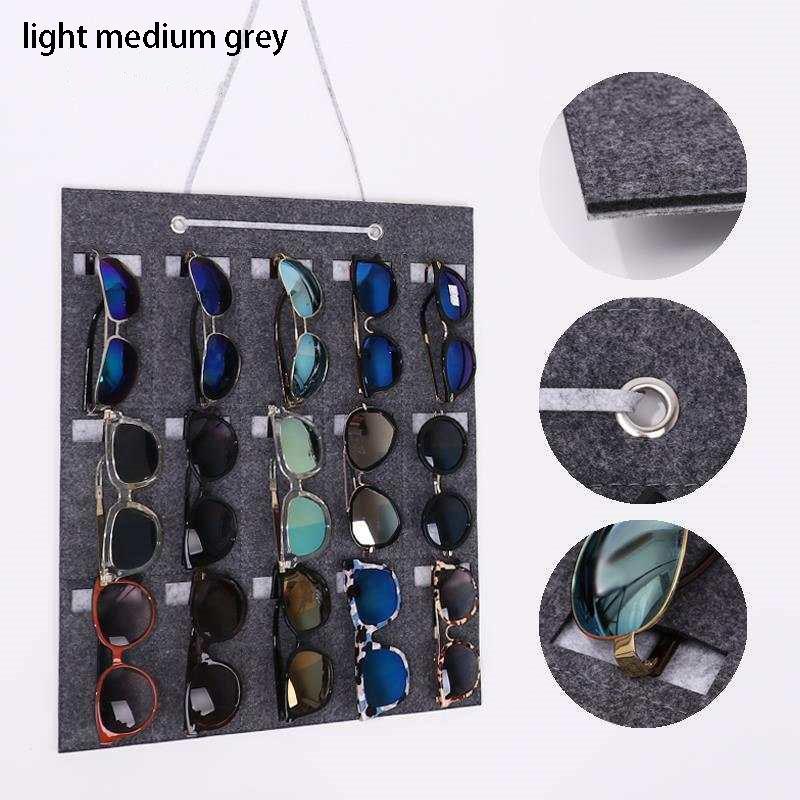 Dispensador de almacenamiento puro gafas de sol de color almacenamiento de 15 Rejilla tipo colgante 15.74 * 19.68 pulgadas pared de fieltro colgantes ahorrar espacio 1Pcs