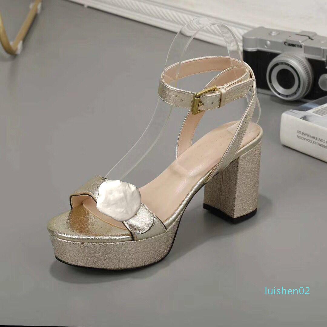 Дизайнер высоких каблуков сандалии кожа водонепроницаемых платформы грубого каблук кожа мода женщина обувь бляшка вечеринка роскошного сексуальные сандалии l02