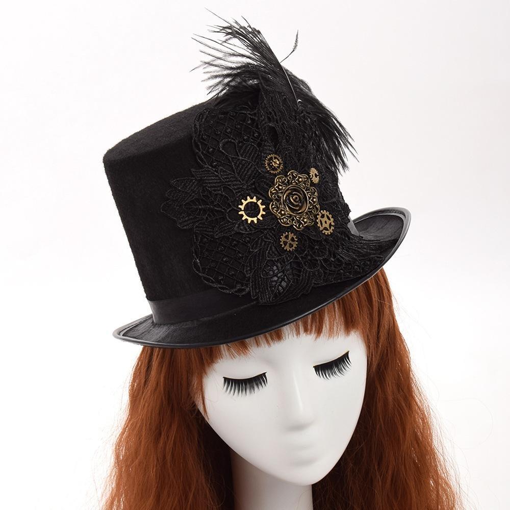 1pc Unisexe Steampunk Gear Lunettes Noir Top Hat homme femme couple chapeau de fête