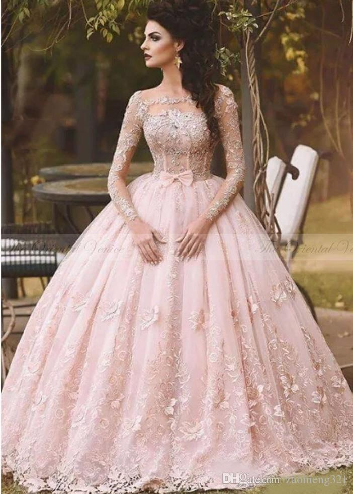Vestidos 2019 Blush Pink Lace Ball Gown Quinceanera Dress Long Sleeves Boat Neck 3d Flora Princess Bridal Gowns Arabic Dubai Quinceanera Dress Shops