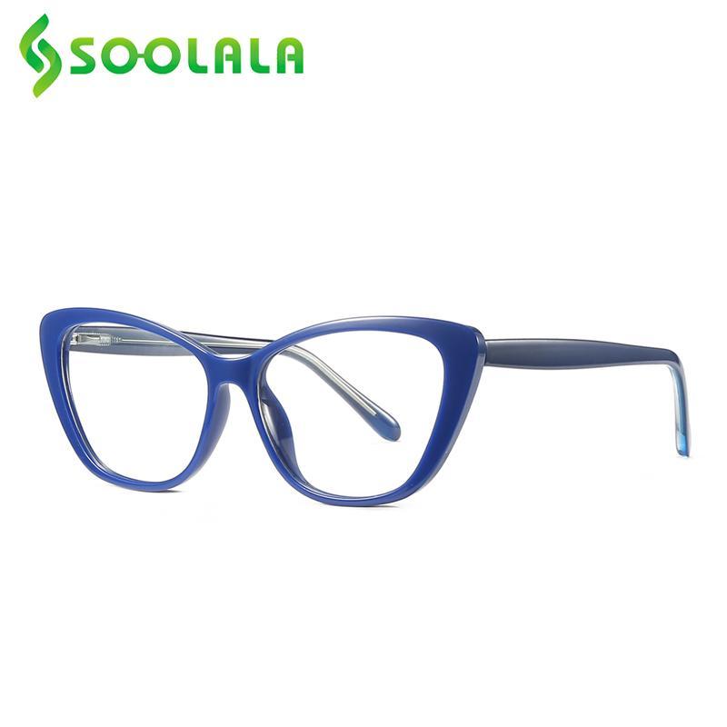 SOOLALA primavera bisagras mariposa del gato anti ojo azul claro gafas de lectura mujeres lente clara presbicia Lentes 1,0 2,0 a 4,0