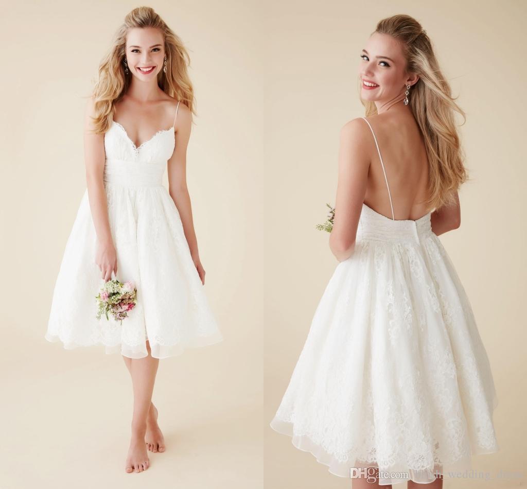 A-Line White Little Dresses Short Wedding Dresses Knee Length Spaghetti Sleeveless Backless Lace Boho Beach Wedding Gown Bridal Dress