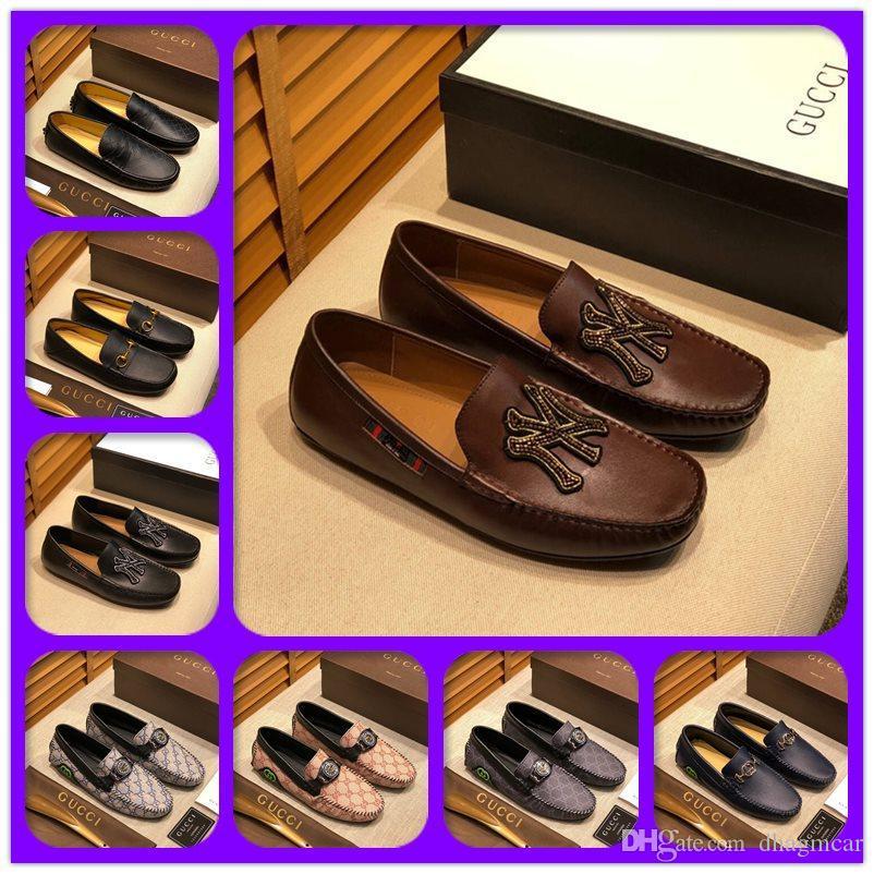 Neu! 019 Männer Luxus Designer-Kleid-Schuhe Leder-beiläufige Loafers Gentleman Slip on Wohnung Oxford Schuhe 38-46 Größe