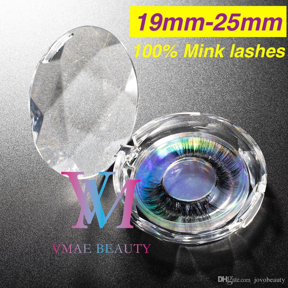 VMAE Crystal Box 100% сибирской реальной норки мех натуральный личный лейбл 19 мм 25 мм Crisscross полная полоса длинный пушистый макияж 3D 5D норковые ресницы