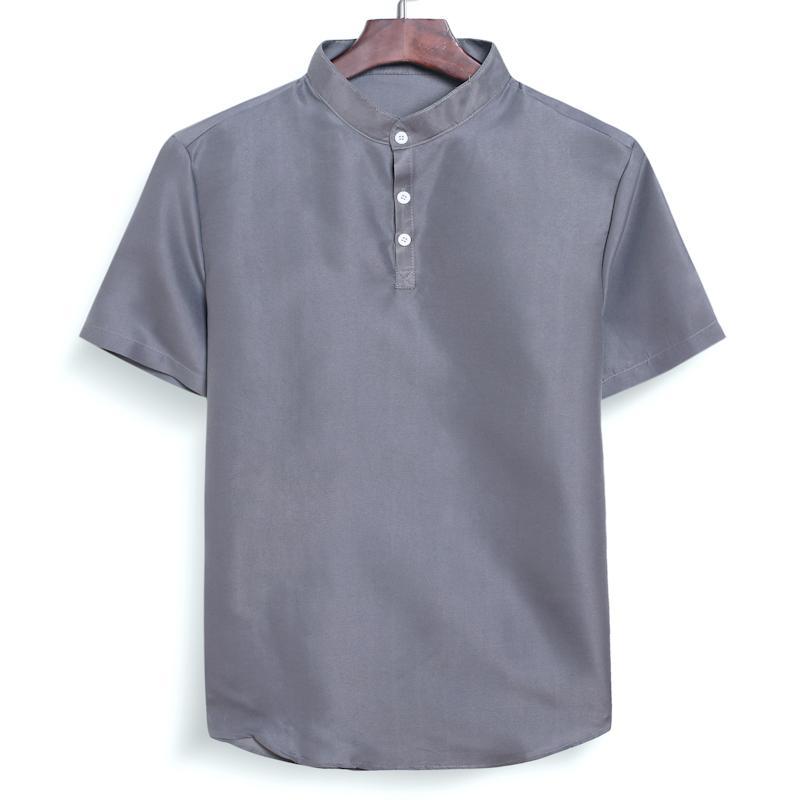 Aoliwen Modische Männer beiläufige Stehkragen Buttons Solid Color Strand Short Sleeve Top beiläufige hawaiische Strand-Art-Hemd
