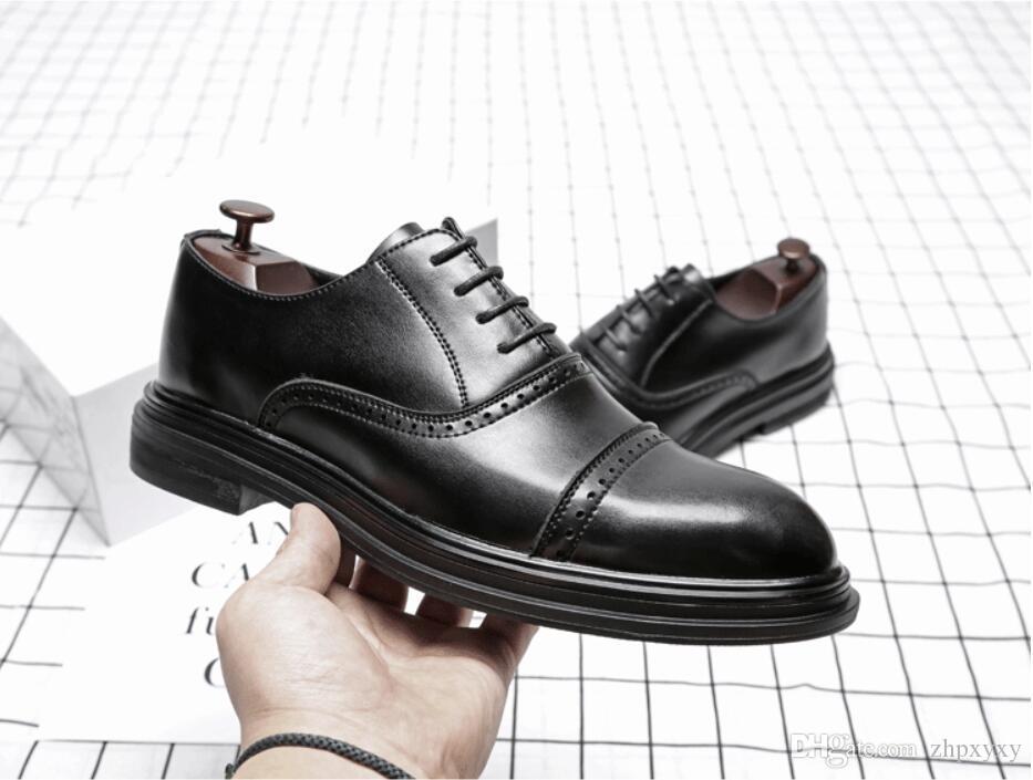 Triple Joint Uomo Casual Scarpe da lavoro Uomo Oxford Scarpe da ufficio Uomo Scarpe da festa in pelle per matrimonio Fashion British Style 2019 1A44
